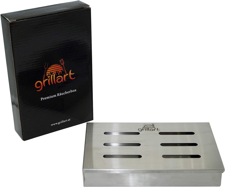 grillart Original BBQ caja de ahumado fabricada 100% en acero inoxidable / Ahumador / Aromabox / Accesorios para parrilla de gas, parrilla de caldera y parrilla de carbón / Dimensiones 21 x 13 x 3.5cm