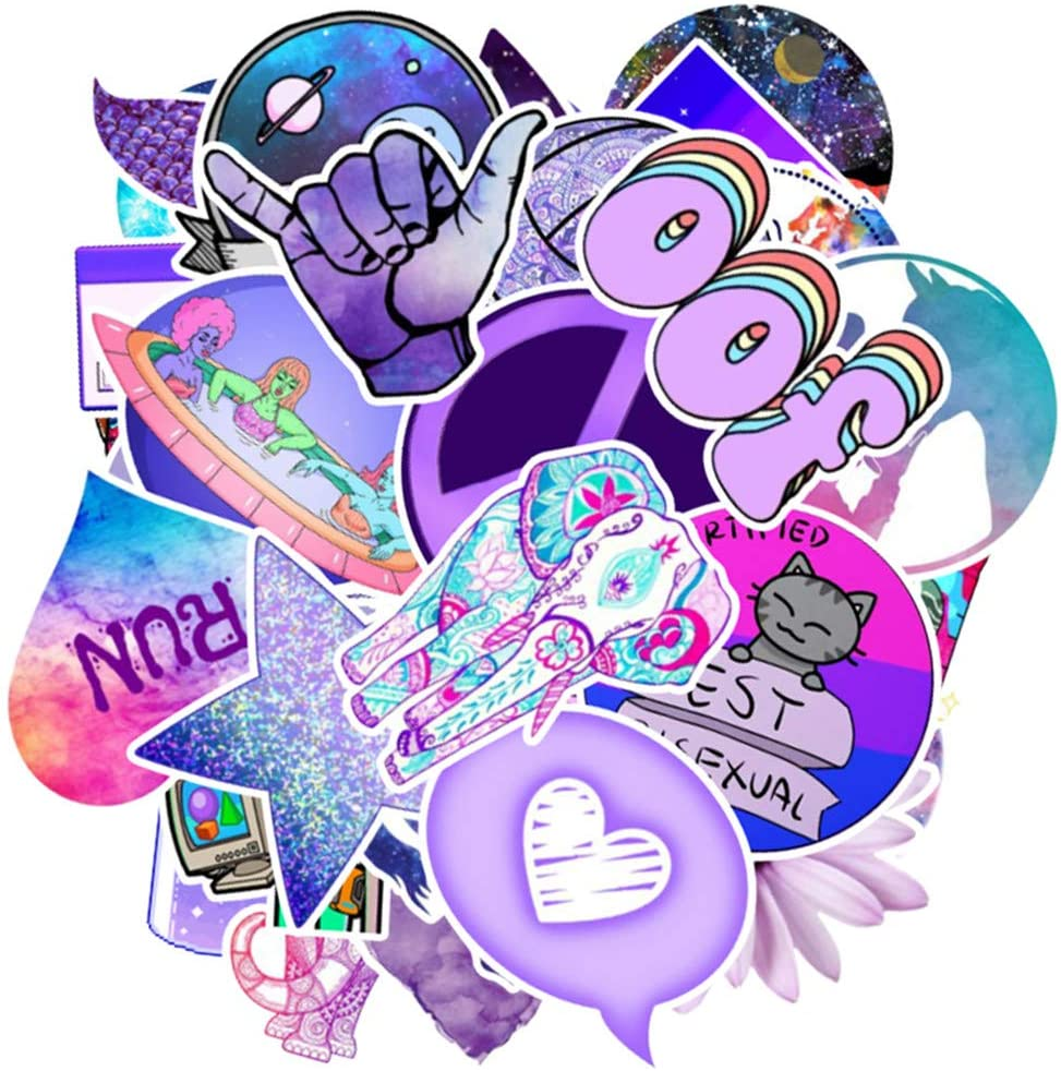 50PCS Waterproof Stickers for Decorating Laptops Various Funny and Cute Personalized Stickers Skateboards Purple Fresh Style Refrigerator Water Bottle Guitar
