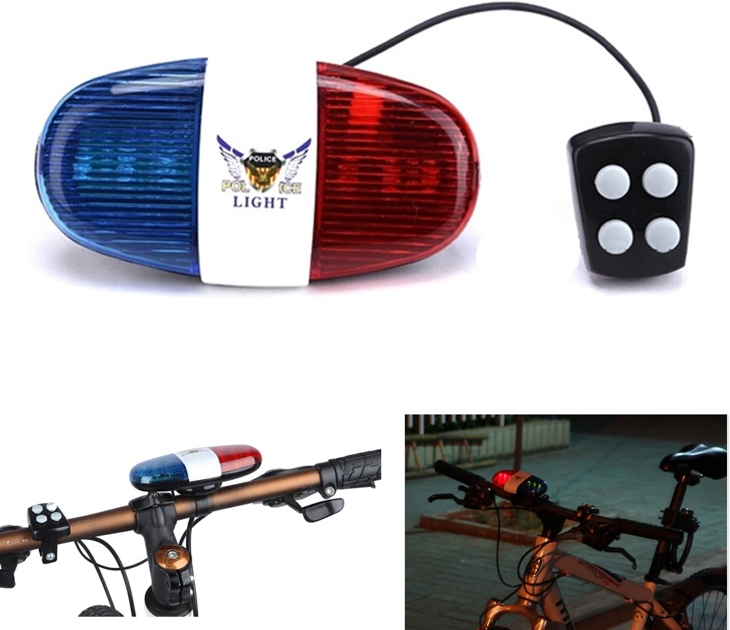 Oumers Kids Bike Police Sound Light Electronic Horn Bike LED Light, Christmas Birthday Gift New Year Present for Your Children (Batteries Not Included)
