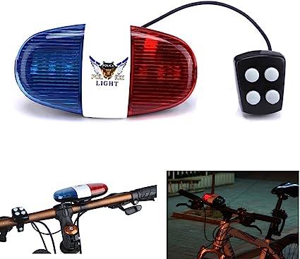 Vélo Lumière DEL Electric Horn Siren Horn Bell, Oumers Vélo police lumière sonore