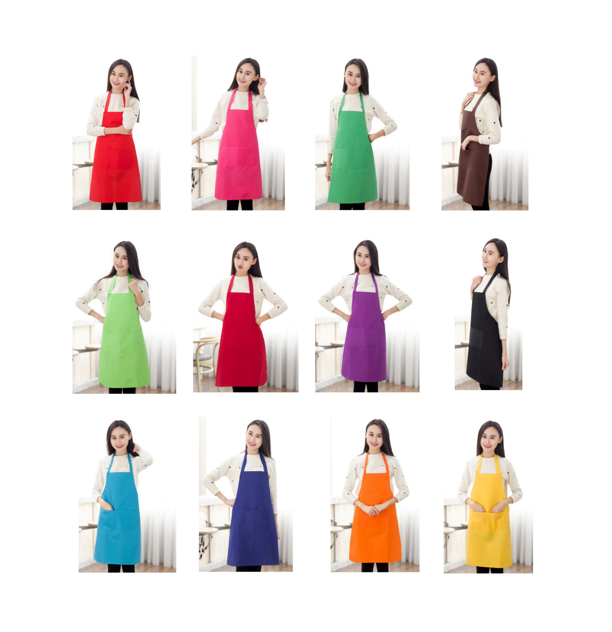 TSD STORY Total 12 PCS Plain Color Bib Apron Adult with 2 Front Pocket (Mixed Colour) by TSD STORY