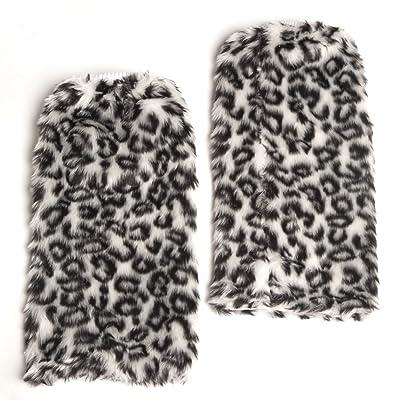 Accessoryo Women's Faux Fur Fluffy Animal Print Legwarmers One Size Grey at Amazon Women's Clothing store