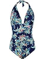 Hilor Women's Plunge Deep V Neck One Piece Swimsuit Halter Bikinis Monokinis Shirred Details