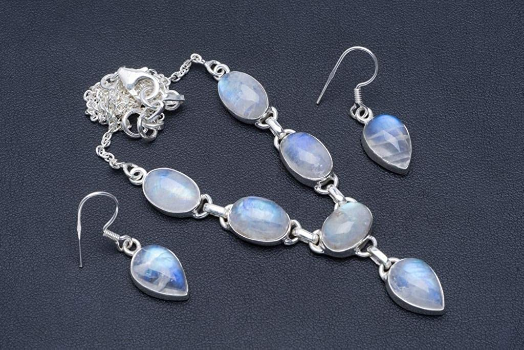 Natural Moonstone Handmade Unique 925 Sterling Silver Jewelry Set Necklace 18 Earrings 1.25 A3573