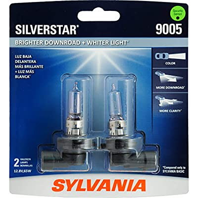 SYLVANIA - 9005 SilverStar - High Performance Halogen Headlight Bulb, High Beam, Low Beam and Fog Replacement Bulb, Brighter Downroad with Whiter Light (Contains 2 Bulbs): Automotive