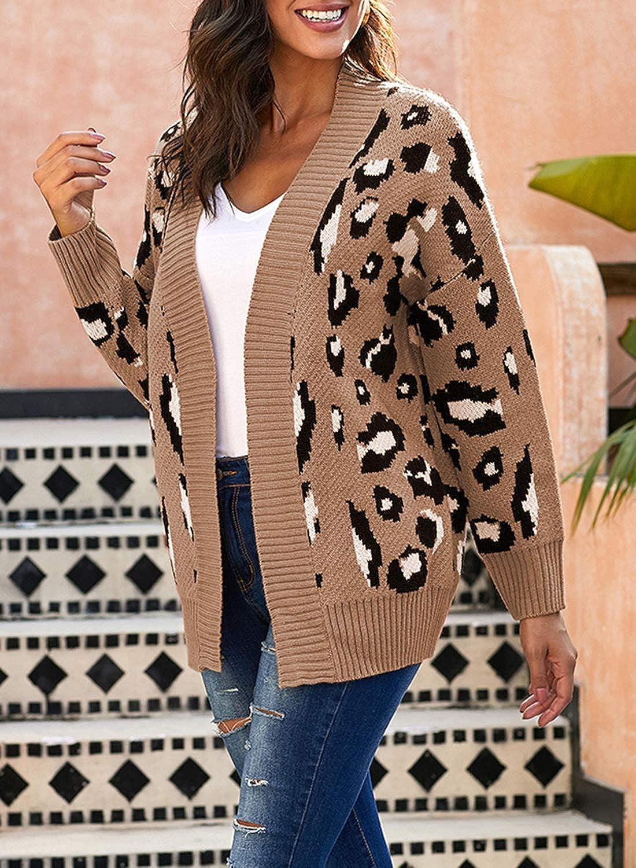 con stampa leopardata con bottoni a spalla a goccia CORAFRITZ Cardigan invernale da donna tinta unita lavorato a maglia a maniche lunghe