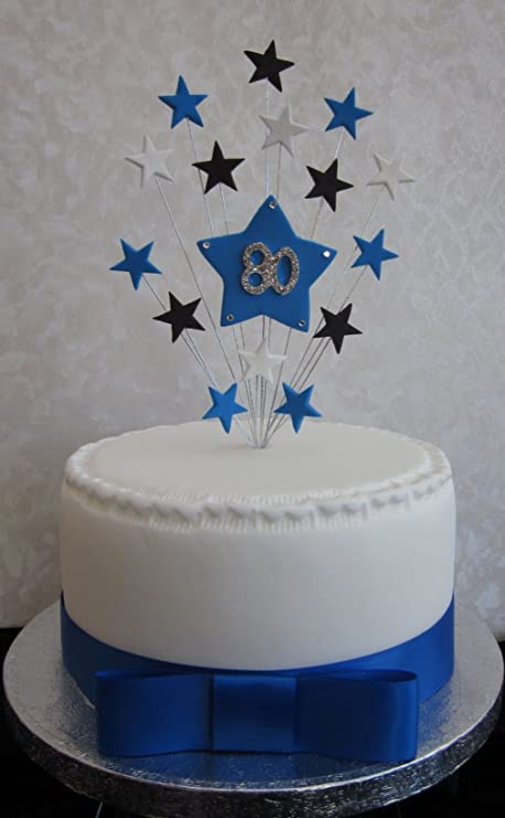80th Birthday Cake Topper Blue Black And White Stars Suitable For A