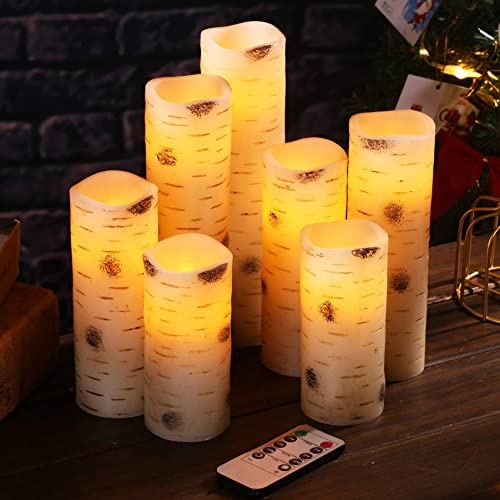 Flameless Candles Battery Operated Candles Birch Bark Effect Set of 7 Ivory Real Wax Pillar LED Candles with 10-Key Remote Control and Cycling 24 Hours Timer