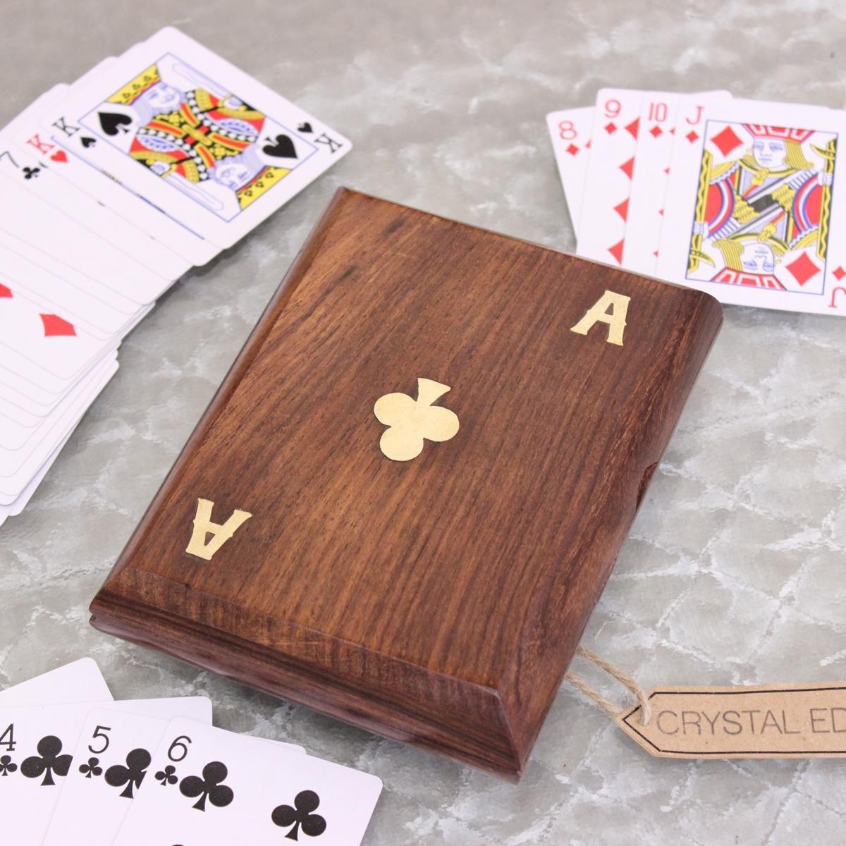 Visitenkartenhüllen Doppeltes Holz Spielkarten Kasten Mit