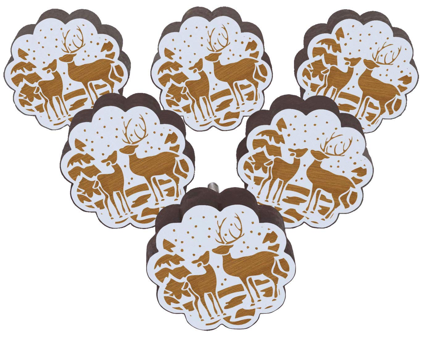 IBA Indianbeautifulart White Christmas Deer Engraved Pack of 10 Wooden Wardrobe Door Knobs Drawer Pull MW-903095-IBA-EG-WDNTEH14B-HEPTAGON