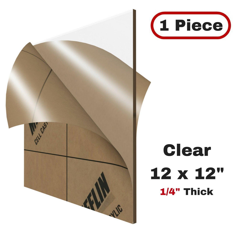 MIFFLIN Cast Plexiglass Sheet (Transparent Clear, 1 Piece, 12x12 inch, 0.236' (1/4 in) Thick), Acrylic Sheet, Plexi Glass, Plastic Sheets, Clear Plastic Sheets, Cast Acrylic Plexiglass
