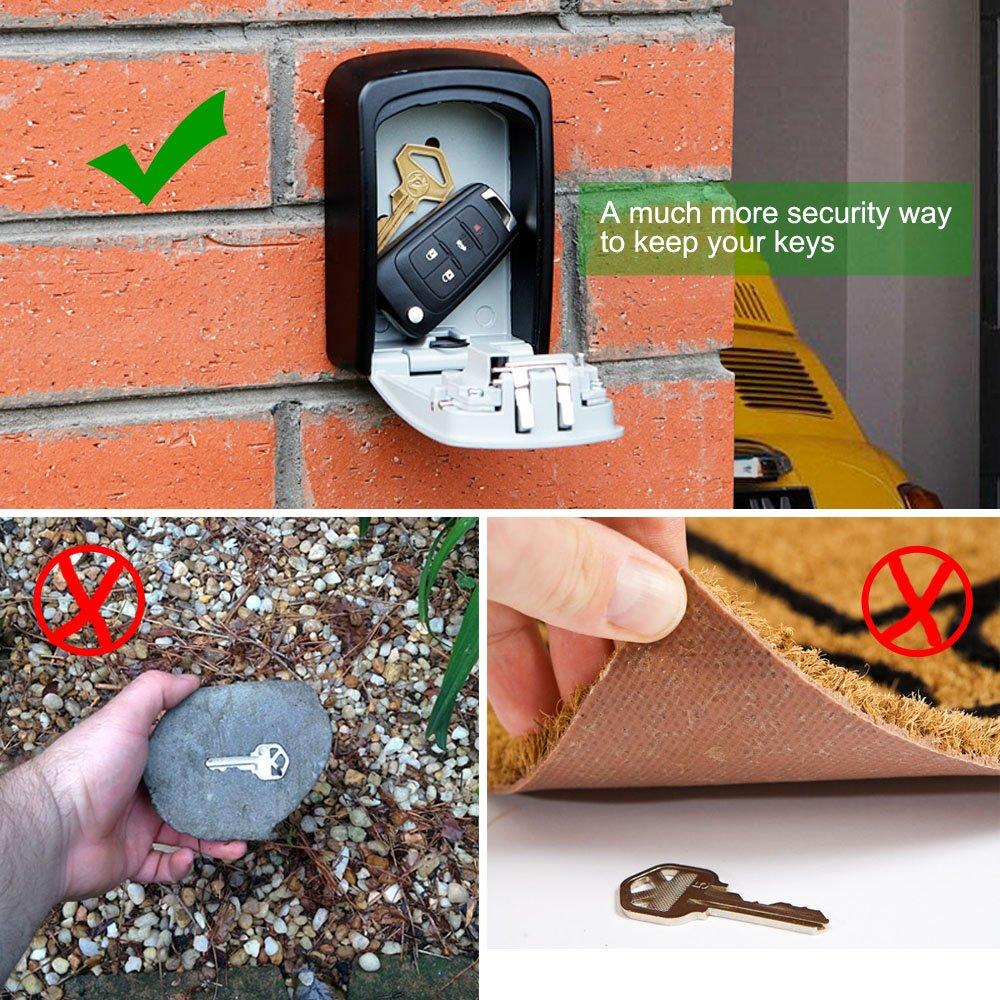 YDO Key Storage Lock Box Secure 4 Digit Combination Case Wall Mounted Organizer (Black) by YDO (Image #3)