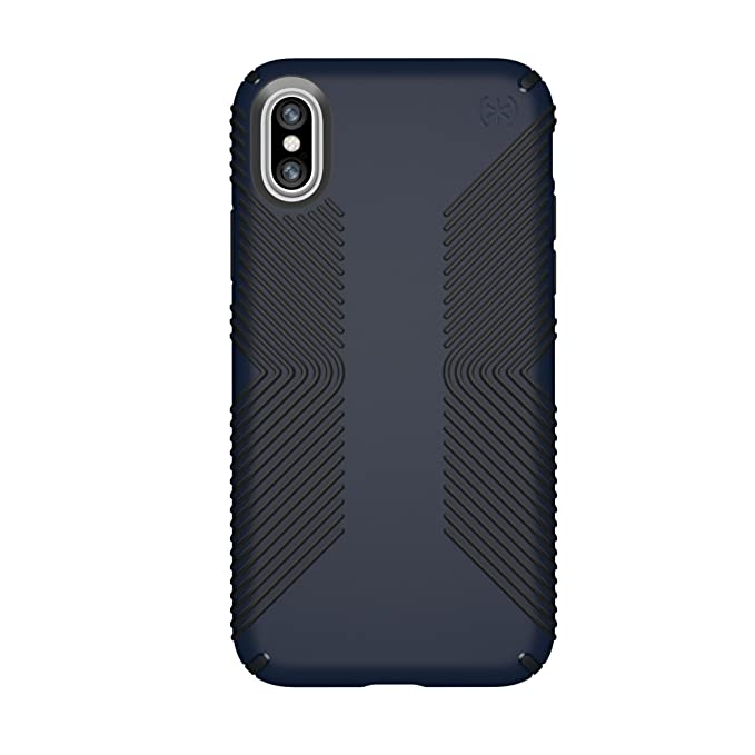 outlet store 72bc1 0b887 Speck iPhone X Presidio Grip Case, 10-Foot Drop Protected iPhone Case with  Scratch-Resistant Finish and Protective No-Slip Grip, Eclipse Blue/Carbon  ...