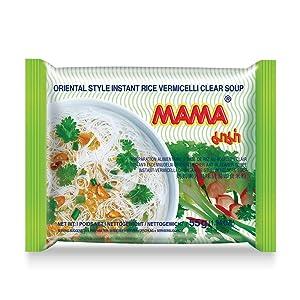 MAMA Noodles Vermicelli Clear Soup Instant Rice Noodles w/ Delicious Thai Flavors, Hot & Spicy Noodles, No Trans Fat w/ Fewer Calories Than Deep Fried Noodles 30 Pack