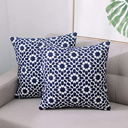 Fabulous Tewene Throw Pillow Cases Cotton Linen Embroidery Throw Pillow Covers 18X18 Decorative Throw Pillow Coves Blue Cushion Cover For Couch Sofa Bed Creativecarmelina Interior Chair Design Creativecarmelinacom
