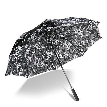 Paraguas Paraguas Camo Automático Masculino Femenino A Prueba De Viento Mango Largo Varilla Recta Claro Paraguas