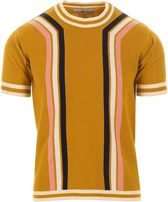 Mens Vintage Shirts – Casual, Dress, T-shirts, Polos Madcap England Modernista Mens Retro 60s 70s Waffle Knit Short Sleeve Knitted Striped T-Shirt Jumper £29.99 AT vintagedancer.com