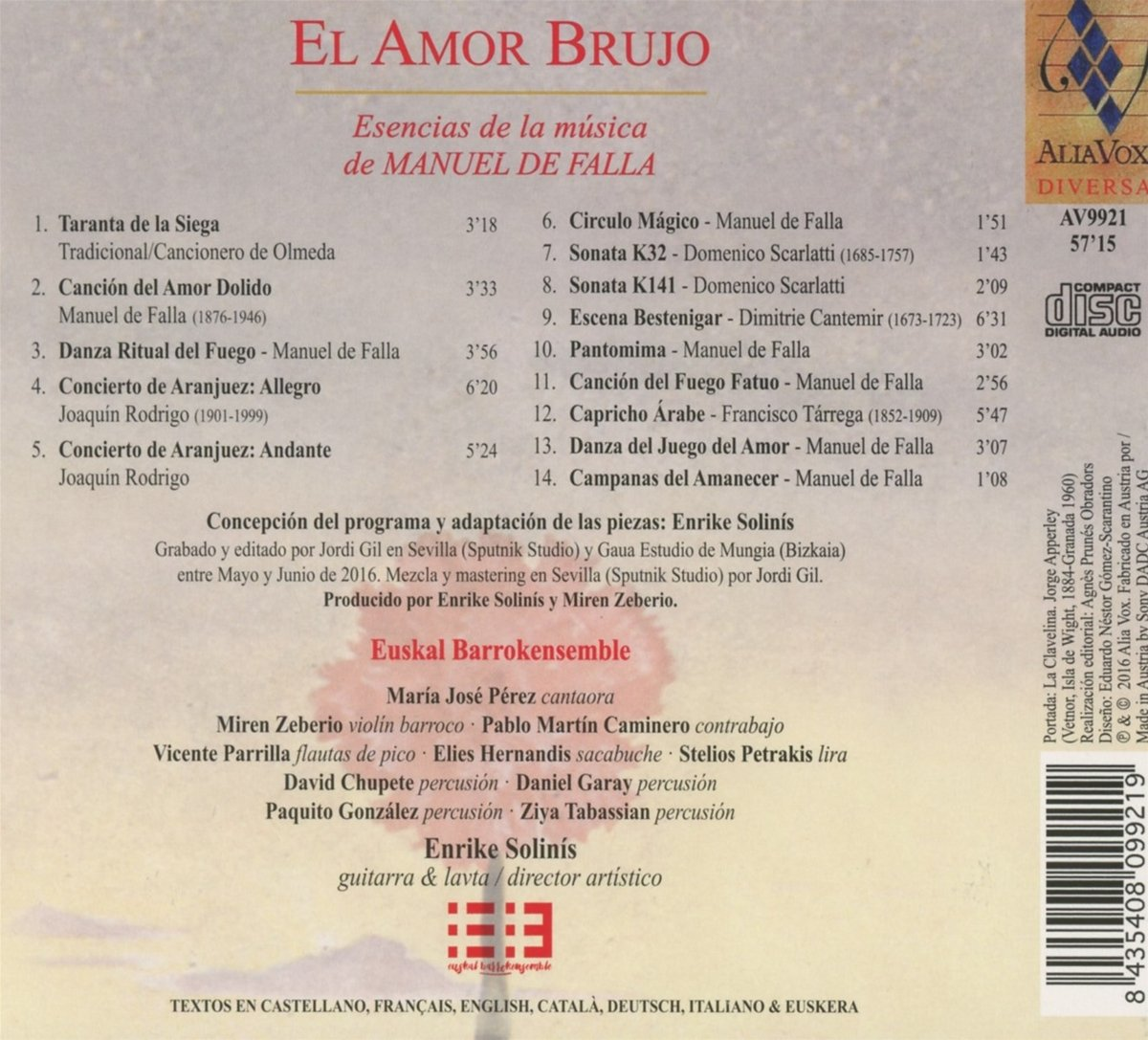 Euskal Barrokensemble, Enrike Solinís, Various - El Amor Brujo - The ...