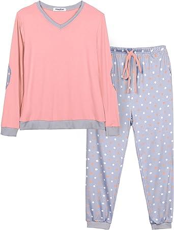 Hawiton Pijama Mujer Invierno Algodon Mangas Largas Pantalones Largo 2 Piezas Talla XL: Amazon.es: Ropa y accesorios