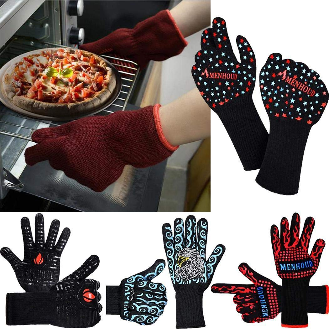 Adoeve Women Men Double-Layer Anti-scalding Non-Slip Kitchen Gloves Oven Mitts Mitts by Adoeve