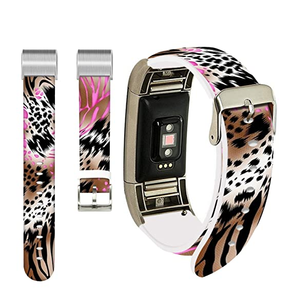 Amazon com: Leopard Bands for Fitbit Charge 3,Ecute Replacement Band