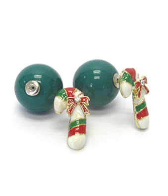 Amazon.com: Fashion Trendy Double Faced Christmas Ball Stud Earrings ...