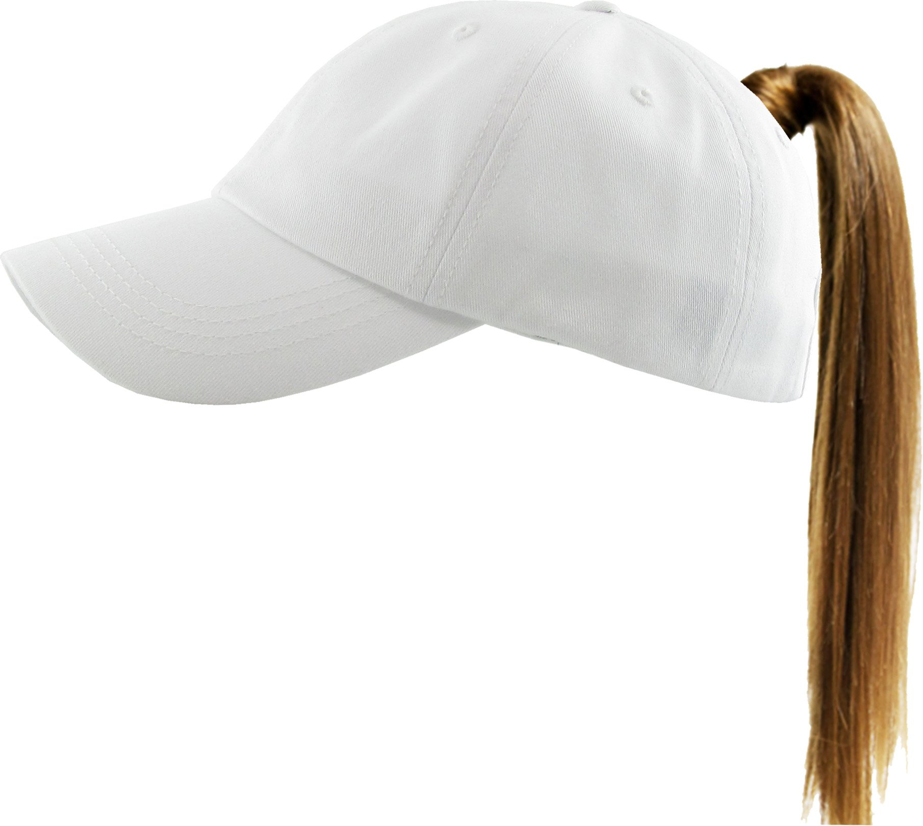 KBETHOS Ponytail Messy High Bun Hat Ponycaps Adjustable Cotton and Mesh Trucker Baseball Cap (Adjustable, Classic White)