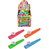 Rimi Hanger Kids Pack of 4 Assorted Musical Instrument Plastic Kazoo Childs Fun Party Toy 11cm Pack of 4(11Cm)