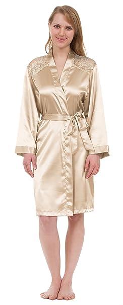 Amazon.com: De la Mujer satén Robe, longitud de rodilla ...