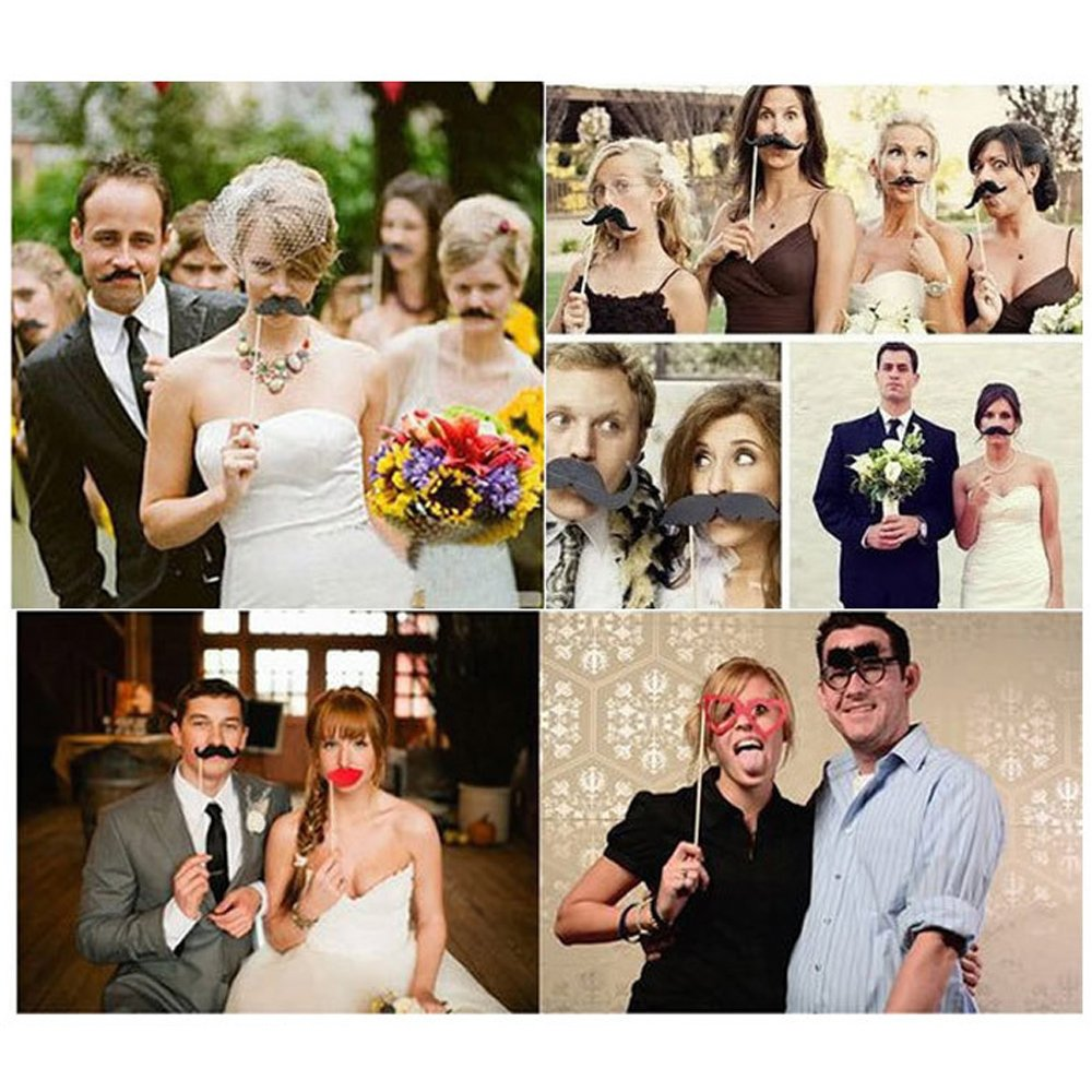 Wedding Photo Booth Props with Strike For Party, Pose Sign 22 Printed Pieces with Wooden Sticks, Accessories Decorations for Birthday Parties, Hipster Bow Tie, Social Media Like Button, Grillz Teeth by COFFLED (Image #3)
