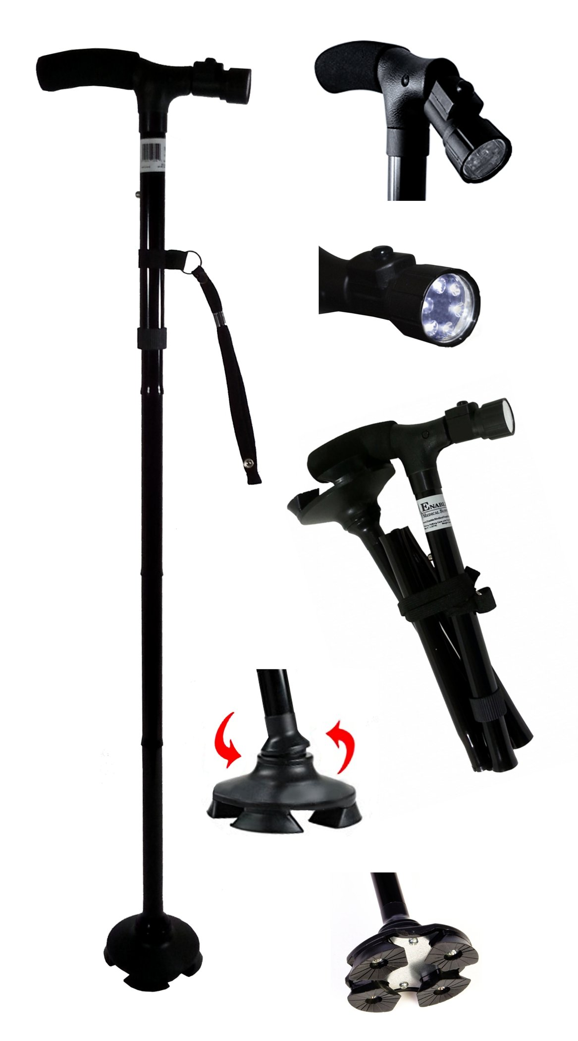 Sturdy Lightweight Folding Cane/Walking Stick features a Pivoting Self-standing Quad Base, Adjustable LED Light & Cushion Handle