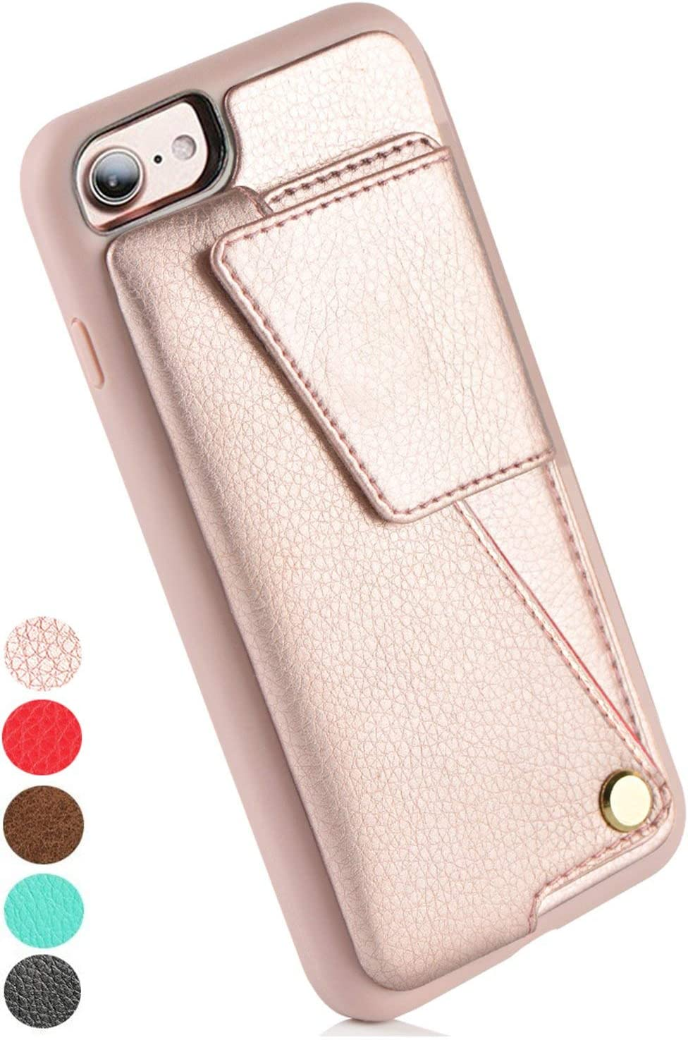 Amazon Com Iphone 7 Wallet Case Zvedeng Iphone 8 Wallet Case With Credit Card Slot Holder Rotational Wallet Phone Case Slim Handbag Purse Protective Cover For Apple Iphone 7 8 4 7inch Rose Gold