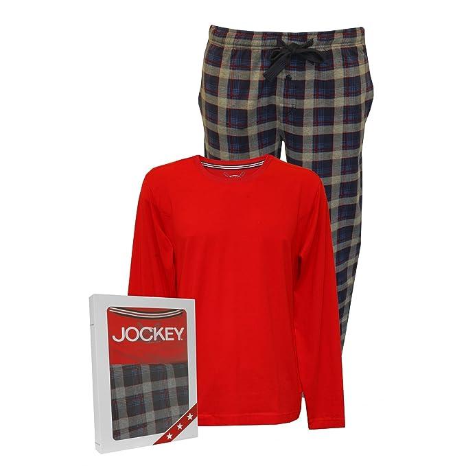 Pijama Conjunto, Rojo/check Jockey Sola Jersey Manga Larga Hombres: Amazon.es: Ropa y accesorios