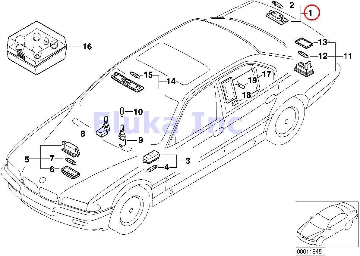 BMW Genuine Interior Light Trunk Light With Bulbs 740i 740iL 740iLP 750iL 750iLP 525i 528i 530i 540i 540iP M5 525i 525xi 530i 530xi 545i 550i M5 528i 528xi 535i 535xi 550i 745i 750i 760i ALPINA B7 745Li 750Li 760Li X1 28i X1 28iX X1 35iX 323i 325i 325xi 32