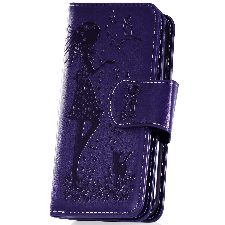 JAWSEU Compatibile con Samsung Galaxy A70 Portafoglio in Pelle,3D Modello Bella Donna Gatto Leather Flip PU Cover Libro Wallet Cuoio Custodia Shock-Absorption Bumper Protettiva Cover,Violet