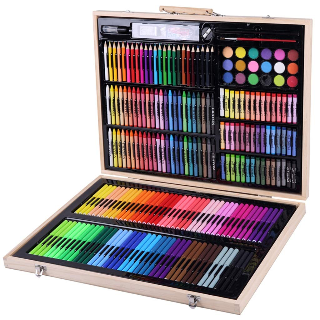Zywtrade 251 Piece Set Environmentally Friendly Watercolor Pen Crayon Oil Pastel Student Art Painting Stationery Draw Brush Children Gift