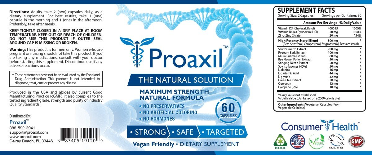 Proaxil - Extra Strength Vegan Saw Palmetto Supplement for Prostate Health - Healthy Urination Frequency & Flow Formula - 6 Bottles