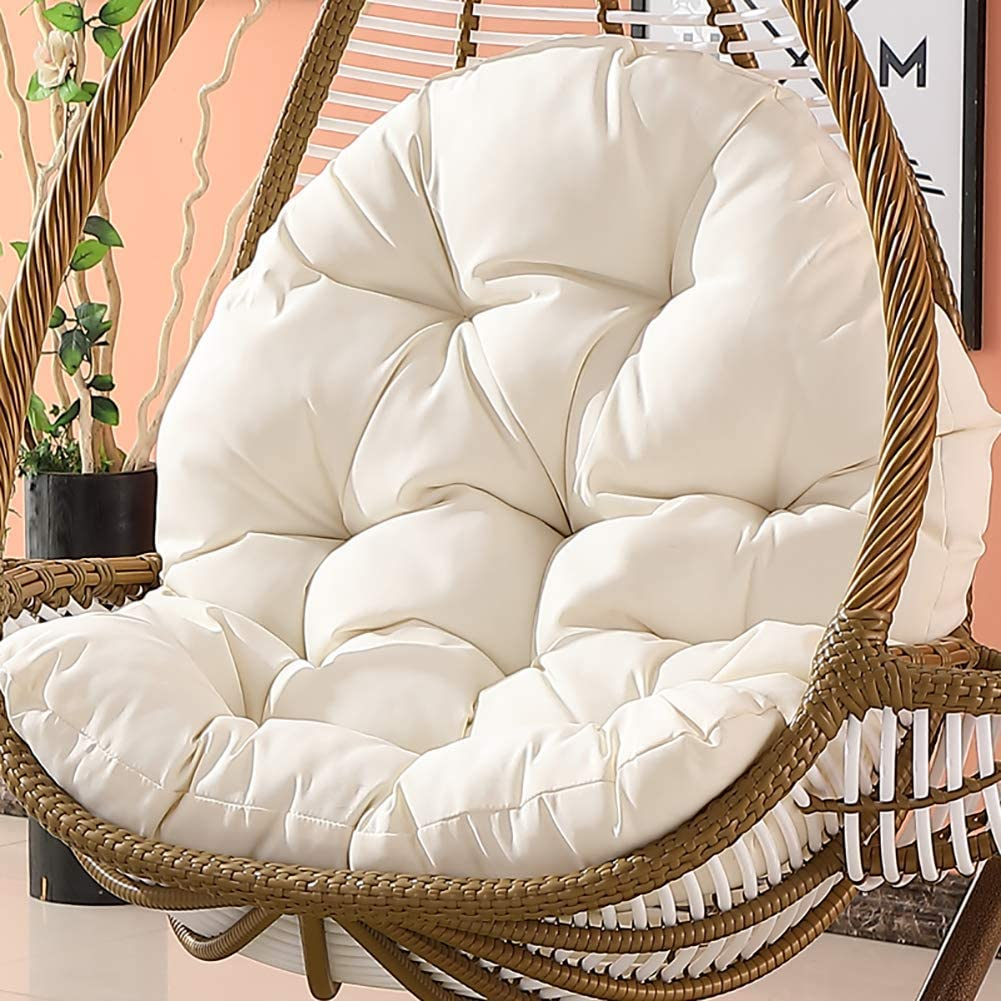 Waterproof Wicker Rattan Cushion Hanging Egg Chair Pad Cozy Thick Nest Swing Pad Back Cushion for Backyard Balcony Garden Khaki,Ordinary