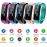Fitness Tracker Bands Pedometer Bracelet Smart Bluetooth Watch Step Calorie Counter Sleep Monitor Heart Rate Monitor Waterproof Activity Tracker For Android iOS Phone (Green)