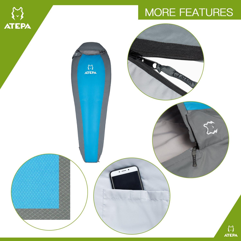 ATEPA Ultra-light Durable Comfort 3-season 32 Degree F/ 41 Degree F Envelope Adult Sleeping Bag (41 Degree / Blue, Left Hand)
