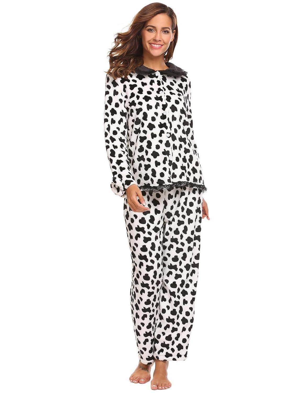 d445edc7e315 Ekouaer Women s Thermal Pajamas Fleece Plush Lace Patterned Pajama ...