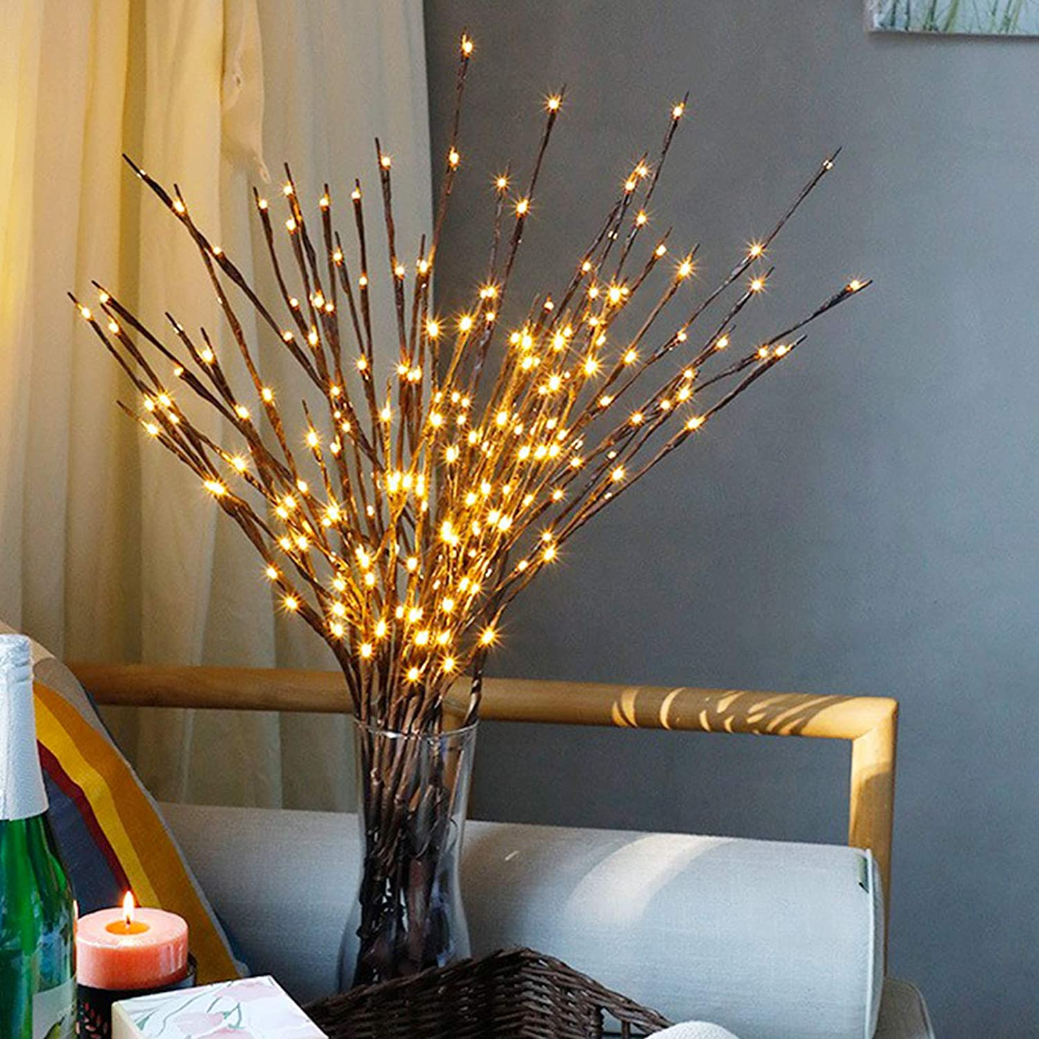 FeiLix Artificial Branches with Lights 3pcs 27.5 Inches 60 LED Lights USB Operated Home Artificial Branches Decoration for Room Wedding Party Christmas Indoor Outdoor