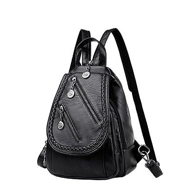 Dame Brust Tasche Weiches Leder Handtasche Umhängetasche Umhängetasche Frauen Tasche Reise Rucksack,Blue-OneSize Laidaye
