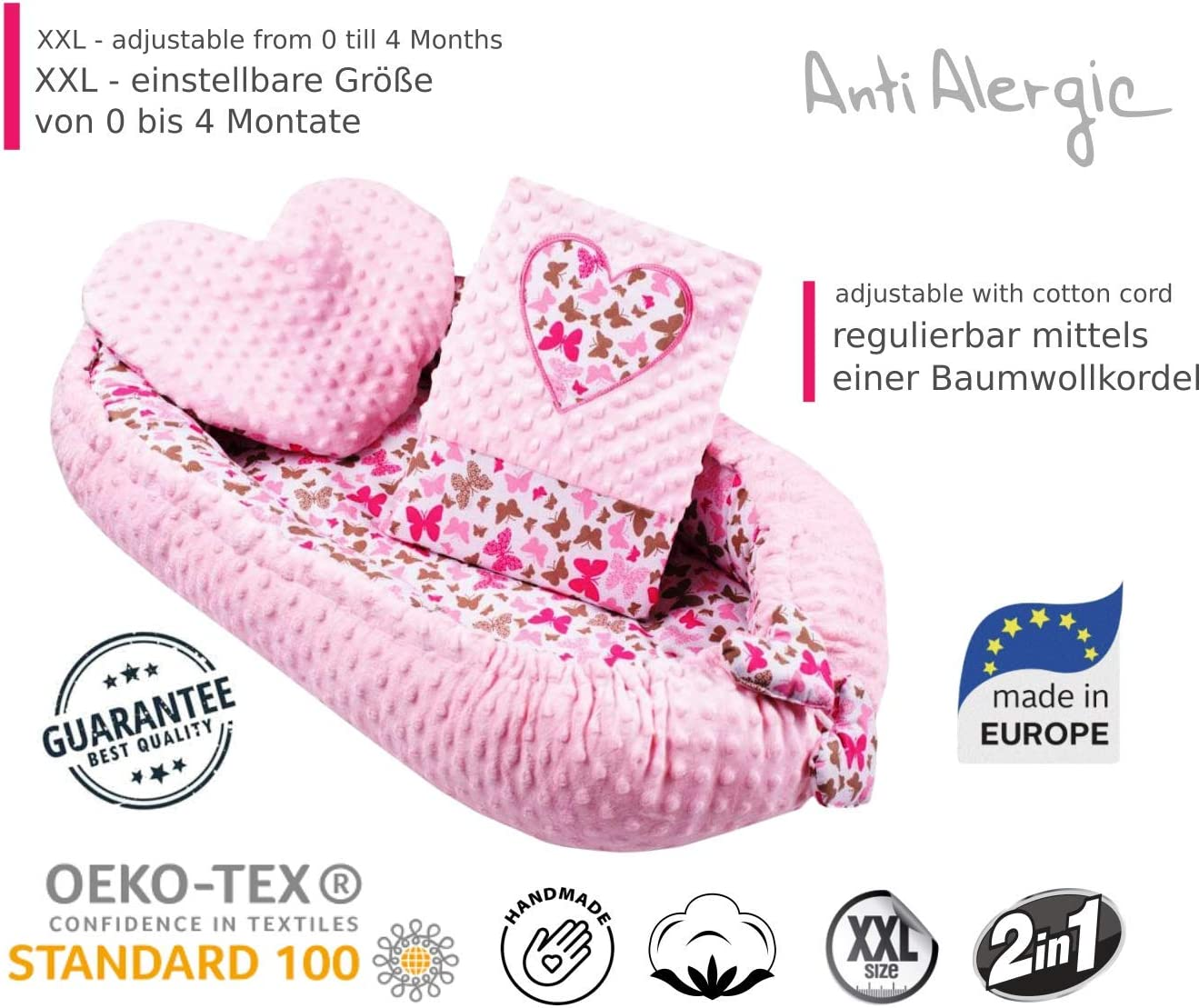 White Heart Anti-Allergic Fibre Unisex Luxury Baby Nest with Pillow and Blanket Double Sided Baby Cot Bumper Set Can be Used from Outside and Inside Baby Cot Bed 100/% Cotton
