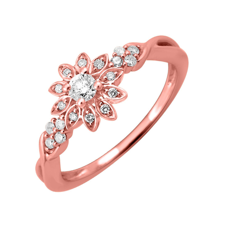 14k White Gold Diamond Engagement Ring Band (1/5 Carat) - IGI ...