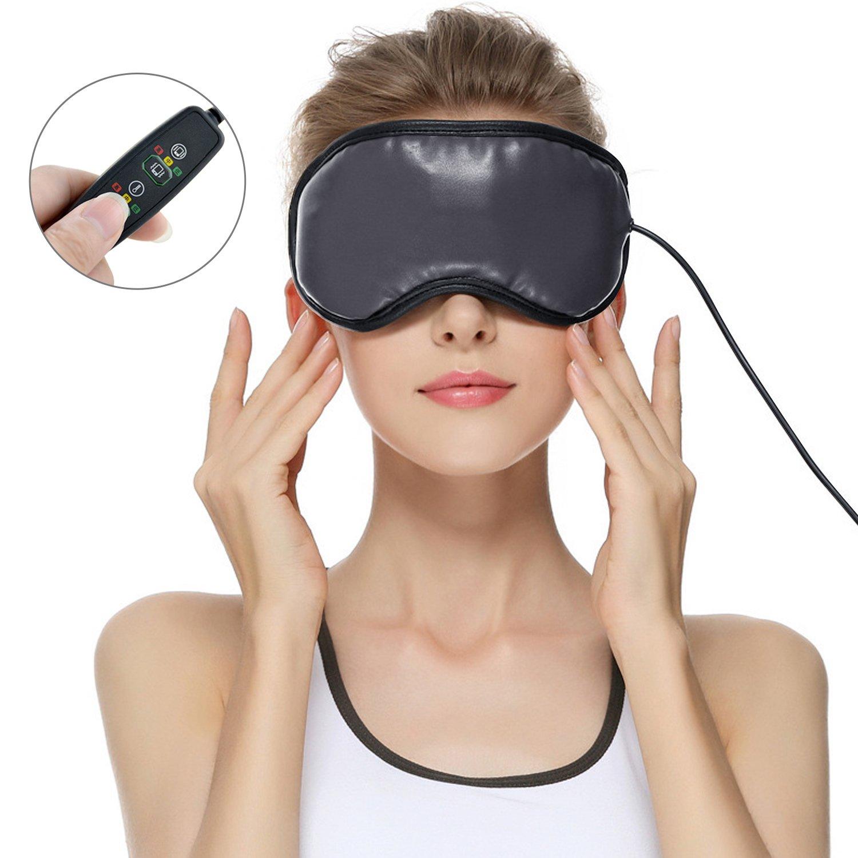 目元マッサージャー ホットアイマスク 2018アイマスク アイマッサージャー 目元美顔器 3モード ストレス解消 USB充電式 温め機能 電熱式 ラベンダーのつぼみ B07D1GVFH7 ブラック ブラック