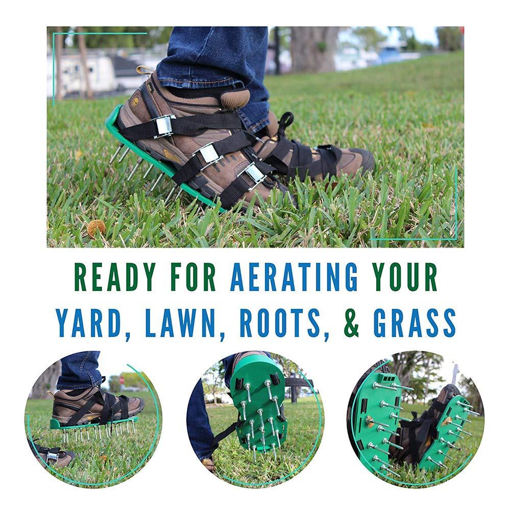 Hemore Chaussures de chaussures de jardinage A/érateur de gazon avec 4/Bretelles r/églables et boucles m/étalliques en 26//à pointes Sandales Chaussures Jardin Outil pour a/érer votre