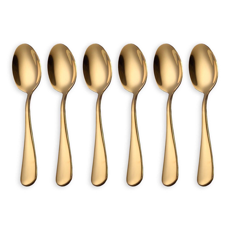 HOMQUEN Cucharas de café dorado brillante, cucharadas de café de acero inoxidable de 6 piezas Cucharas de té, cucharas de pastel mini (cucharadas de oro y ...