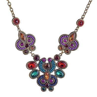 9ba4feab89e9 Estilo étnico Lureme colorido cristal y flor colgante de cuentas de collar  de la declaración del oro para las mujeres 01001436  Amazon.es  Joyería