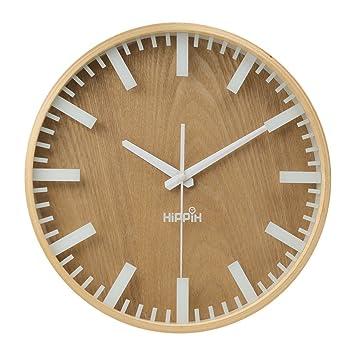 Hippih 12Silent Wall Clock Wood Non Ticking Digital Quiet Sweep